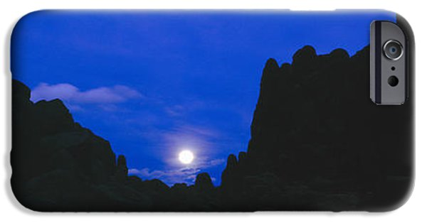 Mountain iPhone Cases - Moonrise At Alabama Hills In Sierra iPhone Case by Panoramic Images