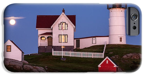 Nubble Lighthouse iPhone Cases - Moonrise at Nubble Light York Maine iPhone Case by Dawna  Moore Photography