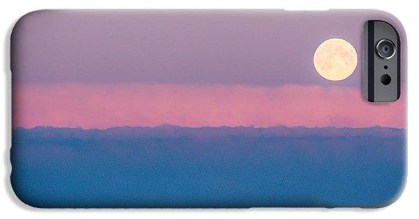 Norwegian Sunset iPhone Cases - Moonrise iPhone Case by Christina Klausen