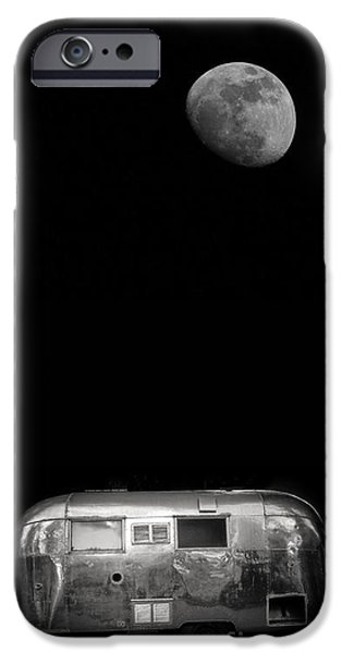 Moonlit Night Photographs iPhone Cases - Moonrise over Airstream iPhone Case by Edward Fielding
