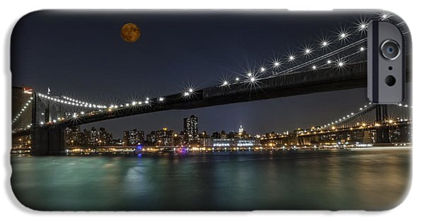 Moonscape iPhone Cases - Moonrise over Manhattan II iPhone Case by Susan Candelario