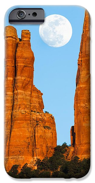Cathedral Rock iPhone Cases - Moonrise over Sedona iPhone Case by Adam Schallau