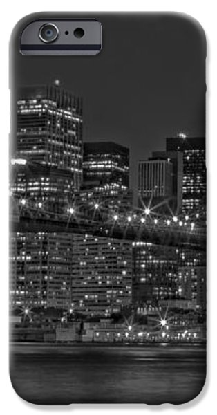 Moonrise Over The Brooklyn Bridge BW iPhone Case by Susan Candelario