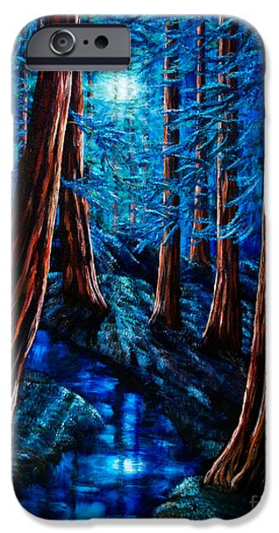 Moon iPhone Cases - Moonrise over the Los Altos Redwood Grove iPhone Case by Laura Iverson