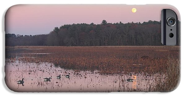Concord iPhone Cases - Moonrise over Waterfowl Pond iPhone Case by John Burk