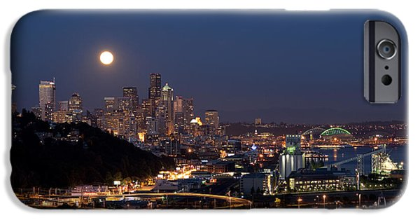 Local Attraction iPhone Cases - Moonrise Seattle Skyline iPhone Case by Jim Corwin