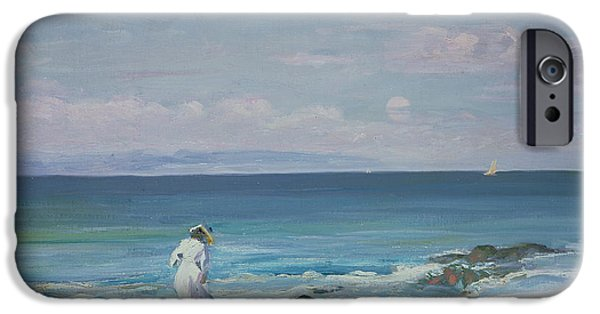 On The Beach iPhone Cases - Moonrise iPhone Case by Sir John Lavery