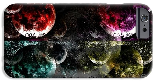 Abstract Digital Drawings iPhone Cases - Moons Dance Multiple iPhone Case by Revistia Garrido