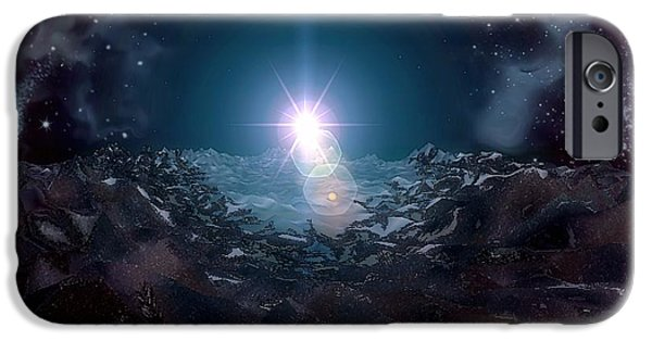 Moonscape Mixed Media iPhone Cases - Moonscape iPhone Case by Dan Seitzinger