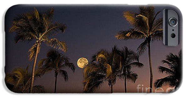 Moonscape iPhone Cases - Moonscape Over Acapulco iPhone Case by Ron Sanford