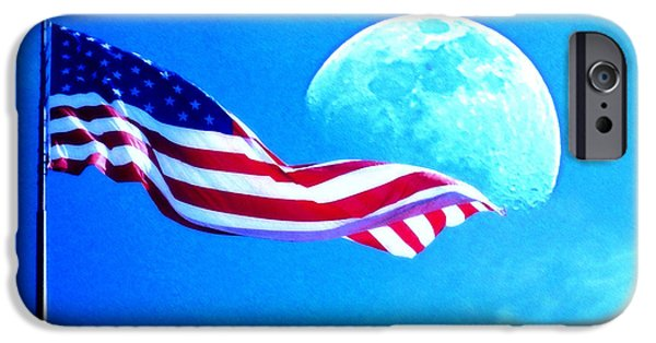 Flag iPhone Cases - Moonshine on the American Flag iPhone Case by Jodie Marie Anne Richardson Traugott          aka jm-ART