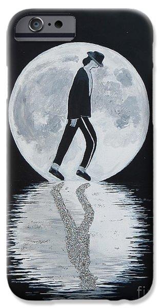 Mj Paintings iPhone Cases - Moonwalker iPhone Case by Artistic Indian Nurse