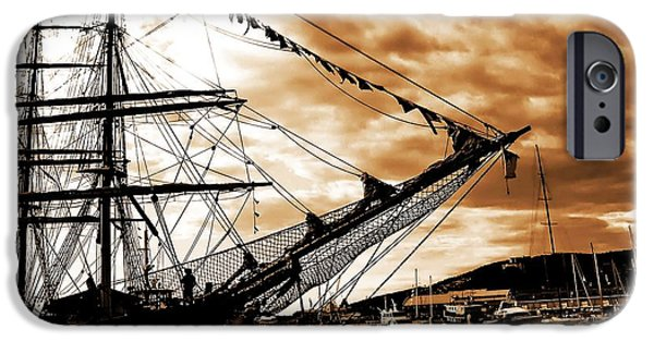 Tall Ship iPhone Cases - Moored At Hobart SE iPhone Case by Tim Richards