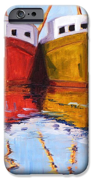 Business Paintings iPhone Cases - Moored iPhone Case by Nancy Merkle