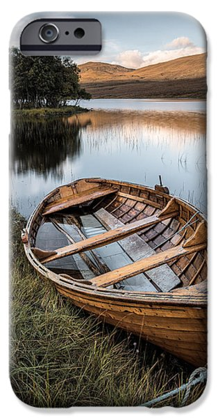 Dave iPhone Cases - Moored on Loch Awe iPhone Case by Dave Bowman