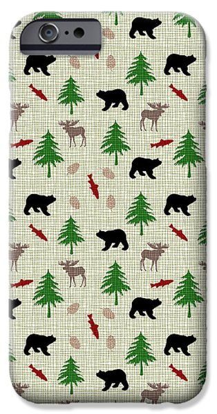 Cabin iPhone Cases - Moose and Bear Pattern iPhone Case by Christina Rollo