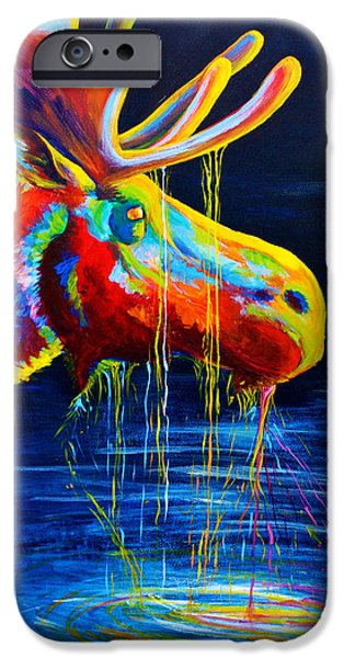 Colorful Paintings iPhone Cases - Moose Drool iPhone Case by Teshia Art
