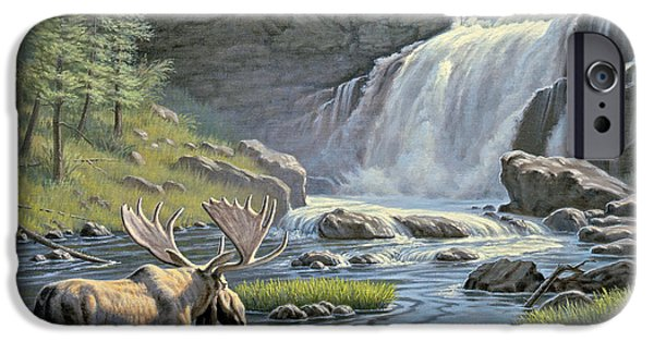 Yellowstone Park iPhone Cases - Moose Falls iPhone Case by Paul Krapf