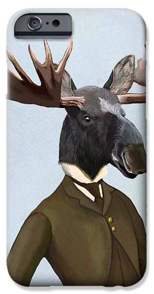 Well Dressed iPhone Cases - Moose in a smart suit iPhone Case by Loopylolly