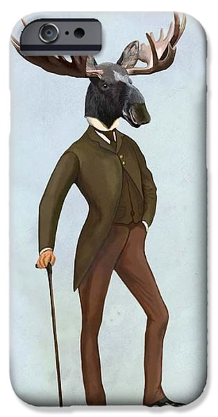 Well Dressed iPhone Cases - Moose in a suit full picture iPhone Case by Loopylolly