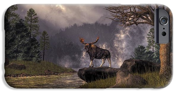 Hudson River Digital iPhone Cases - Moose in the Adirondacks iPhone Case by Daniel Eskridge