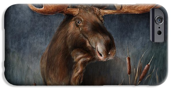 Mist Paintings iPhone Cases - Moose in the Mist iPhone Case by Rob Dreyer AFC
