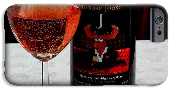 Wine Sipping iPhone Cases - Moose Joose - Blueberry Partridgeberry Wine  iPhone Case by Barbara Griffin