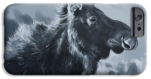 Digital Drawing iPhone Cases - Moose Sketch iPhone Case by Aaron Blaise