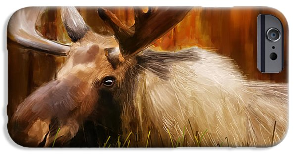 Wild Animals iPhone Cases - Moose Solitude iPhone Case by Lourry Legarde