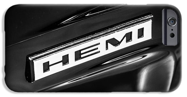Old Photos iPhone Cases - Mopar Hemi Emblem Black and White Picture iPhone Case by Paul Velgos