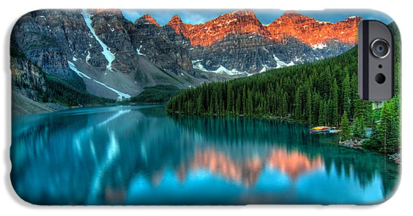 Alberta iPhone Cases - Moraine Lake Sunrise iPhone Case by James Wheeler