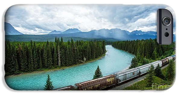 Train Town iPhone Cases - Morants Curve Bow Valley Banff National Park Canada iPhone Case by Edward Fielding