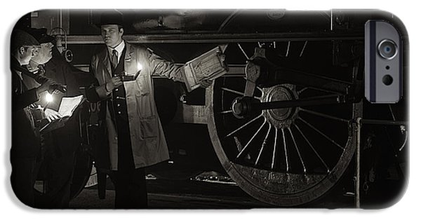 Historical Re-enactments iPhone Cases - Morayshire in the engine shed at night. iPhone Case by Mick Gosling