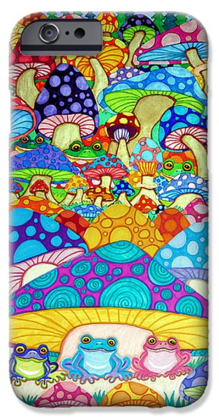 Vivid Drawings iPhone Cases - More Frogs Toads and Magic Mushrooms iPhone Case by Nick Gustafson