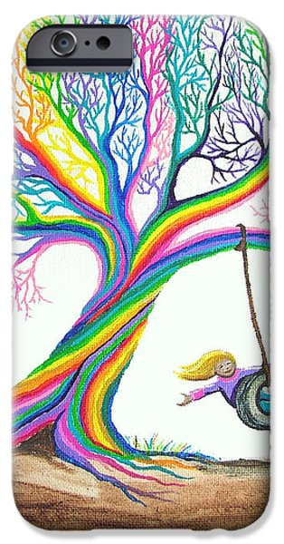 More Rainbow Tree Dreams iPhone Case by Nick Gustafson