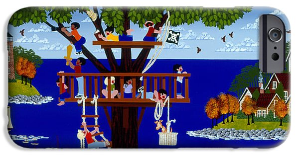 Pirate Ship iPhone Cases - More Treetop Pirates iPhone Case by Merry  Kohn Buvia