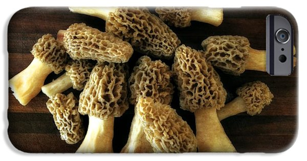 Mushroom Digital Art iPhone Cases - Morel Mushrooms iPhone Case by Michelle Calkins