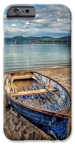 Coastline Digital Art iPhone Cases - Morfa Nefyn Boat iPhone Case by Adrian Evans