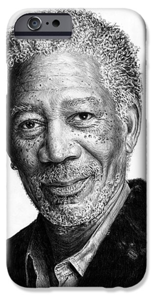 Movie Star Drawings iPhone Cases - Morgan Freeman iPhone Case by Andrew Read