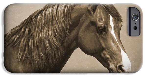 Chestnut Horse iPhone Cases - Morgan Horse Old Photo FX iPhone Case by Crista Forest