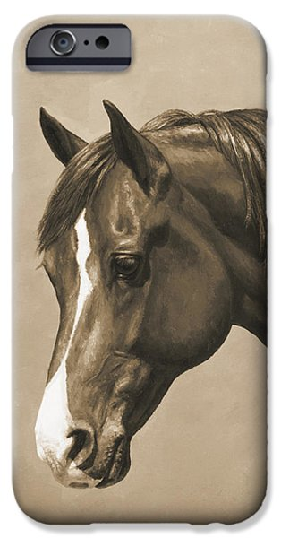 Horse Artist iPhone Cases - Morgan Horse Phone Case in Sepia iPhone Case by Crista Forest