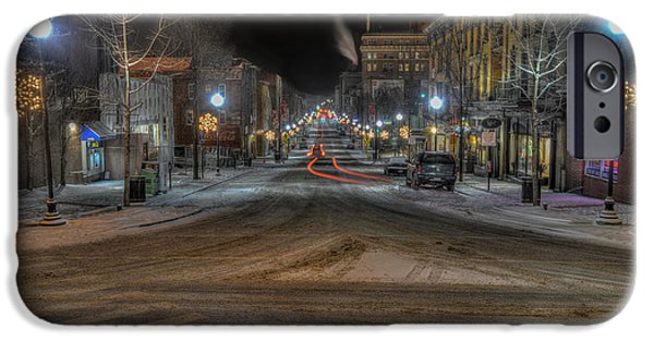 Snowy Night iPhone Cases - Morgantown High Street on cold snowy night  iPhone Case by Dan Friend