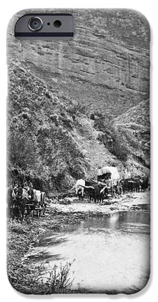 MORMON EMIGRANT CONESTOGA CARAVAN 1879 - TO UTAH iPhone Case by Daniel Hagerman