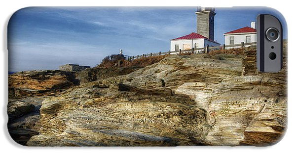 Lighthouse iPhone Cases - Morning at Beavertail Lighthouse iPhone Case by Joan Carroll