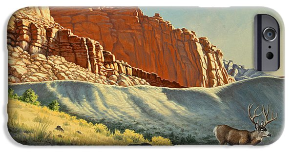 Canyons Paintings iPhone Cases - Morning at Capitol Reef iPhone Case by Paul Krapf