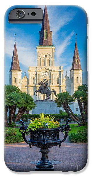 Pathway iPhone Cases - Morning at Jackson Square iPhone Case by Inge Johnsson