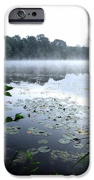 Fog Mist Pyrography iPhone Cases - Morning at lake iPhone Case by Chi Casting