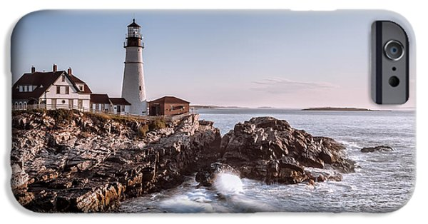 New England Lighthouse iPhone Cases - Morning at the lighthouse iPhone Case by Eduard Moldoveanu