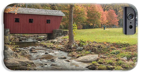 Covered Bridge iPhone Cases - Morning at the park iPhone Case by Bill  Wakeley