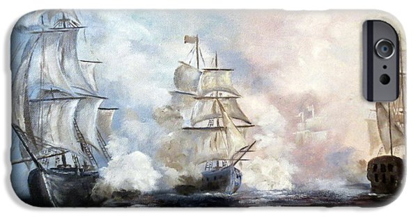 Tall Ship iPhone Cases - Morning Battle iPhone Case by Lee Piper